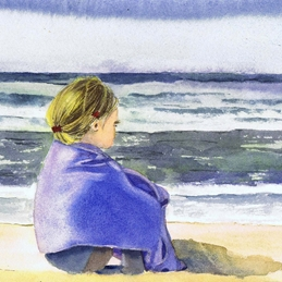 General girl, child, sea, beach, seascape personalised online greeting card