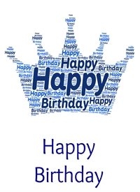 Birthday prince crown royalty blue boy  personalised online greeting card