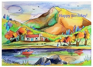 Andrew Alan Art Autumn Loch art scotland, cumbria, landscapes, scenery, male birthday, happy birthday personalised online greeting card