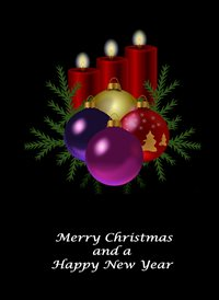 christmas Decorations Candles Black Red Green Happy  z%a personalised online greeting card
