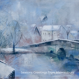 Mary Dodd Art St. John's Bridge Malmesbury Winter christmas Winter Christmas Malmesbury St John's Bridge Town Bridge personalised online greeting card
