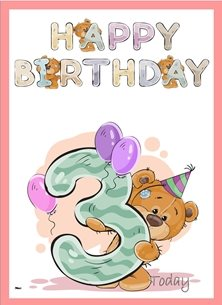 Her Nibs  Teddy 3 birthday children Teddy Bear Number 3 Hat Purple Pink Green Brown Happy  personalised online greeting card