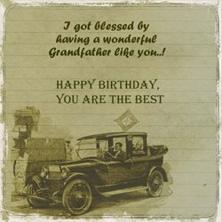 Birthday Grandfather granddad grampa vintage car z%a personalised online greeting card