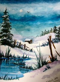 Art By Three  Snowy Hills Art Christmas snow  landscapes  winter christmas for-him for-her  general blank all occasions fineart white countrysides trees blue white pines water chalets logcabins house ice grass personalised online greeting card