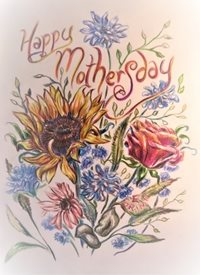 Mothers flowers, sun flower, rose, red, yellow, blue, orange, floral, bouquet,  personalised online greeting card