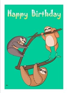 birthday Sloths Tree Branches Green Brown Grey White Happy  personalised online greeting card