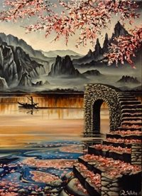 Art By Three  Lake Of Tranquility Art  lakes mountains  landscapes japan cherry blossoms pink flowers for-him for-her reflections fineart  boats men fishing shadows sky peace stairs gardens countryside love romance hers girlfriends oils  general blank all occasions art  personalised online greeting card