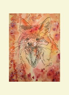 art Fox Vixen Animal personalised online greeting card