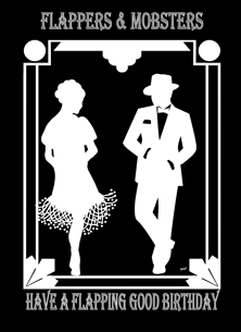 Birthday For-Him For-Her Art Deco/Nouveau Frame Flapper Mobster Silhouette Black White  personalised online greeting card