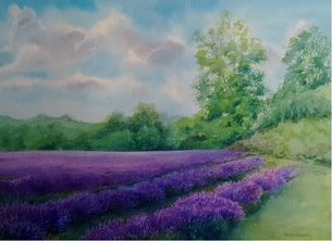 Art lavender, Mayfield lavender watercolour landscape purple flowers  personalised online greeting card