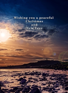 Christmas xmas, Christmas, sunset, evening, hill, tower, mountain, tranquil, serene, peaceful, strangford, lough, northern ireland, andbc personalised online greeting card