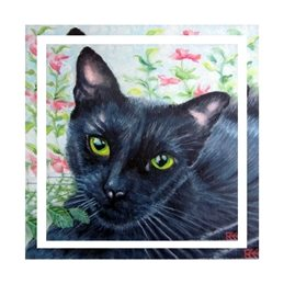 Art cat, animal, pet,  personalised online greeting card