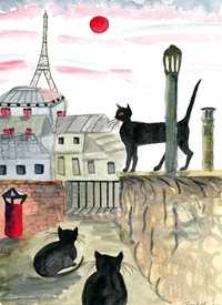 General Black cats in France - Paris Eiffel Tower fun happy personalised online greeting card