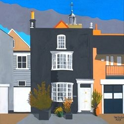 art Wivenhoe, Essex, Fishing Village, Quayside, Artists Houses. Art personalised online greeting card