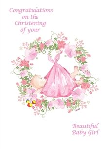 Baby Christening Baby Girl Christening Garland Flowers Rattle Pink White Green Yellow Red for-children Wholesale personalised online greeting card