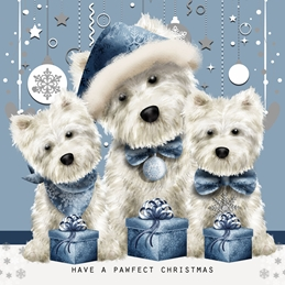 CHRISTMAS westies dogs personalised online greeting card