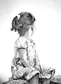 General artwork child  monochrome girl for-children personalised online greeting card