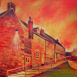 art Back Hill Back Steps Malmesbury fine art painting personalised online greeting card