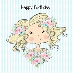 Birthday girl, cute, portrait personalised online greeting card