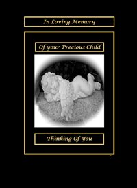 sympathy Sleeping Angel/Cherub Black/White/Gold Sad  z%a personalised online greeting card