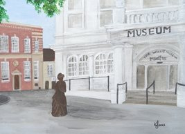 General Art architectural art, buildings, Basingstoke, Jane Austen, Karen J Jones, British Heritage, Museum, landmark buildings, book lover, for-him, for-her, lady, statue, woman, girl, history, historical, Hampshire, English author personalised online greeting card