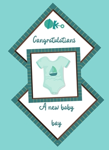 Her Nibs  New Baby Boy  Babies Vest,Rattle, personalised online greeting card