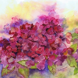 General flower, floral, purple, berry colour, hydrangea personalised online greeting card