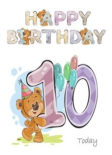 Birthday children For Children Water Colour Teddy Age 10 personalised online greeting card