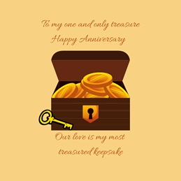 Treasure Chest,Key, personalised online greeting card
