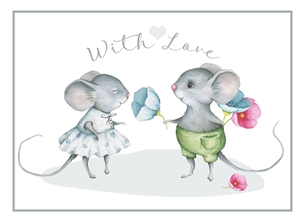 Valentine Valentines, Engagement, Anniversary, Cute, Mice, For-Him, For-Her personalised online greeting card