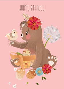 Birthday Bear, Cute, Animal, For-Him, For-Her, For-Children,  personalised online greeting card