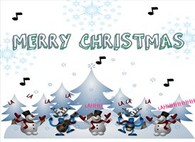 Christmas Snow snowmen signing fun z%a personalised online greeting card