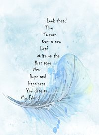 general  for-him, for-her, blue, feather, hope, courage personalised online greeting card
