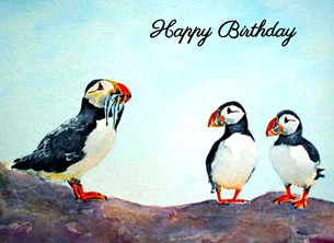 Birthday artwork puffins birds wildlife for-him for-her for-children personalised online greeting card
