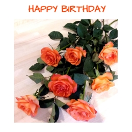 Birthday roses,flowers,red,orange,leaves,for-her personalised online greeting card