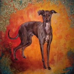 art general italian greyhound dog animal pet art personalised online greeting card