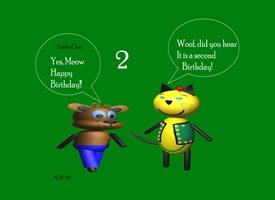 Madelein De Beer W & M series Children's card Birthday children for-child, Woof and Meow, happy, talking, celebrating personalised online greeting card