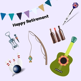 retirement Retirement For - Him Guitar Dart Fishing Rod Bowling Wine Drink Blue Green White Red bunting flag Wholesale personalised online greeting card