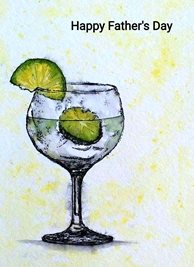 Fathers artwork drink gin glass green yellow for-him personalised online greeting card