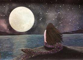 General mermaid, sea, full moon, stars personalised online greeting card