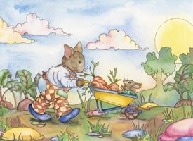 Children Art, Children, Animals, Illustrative, Young, Nostalgic, Traditional, Colourful, Rabbits, Sun, Garden, Blank personalised online greeting card