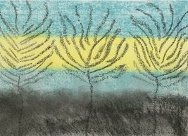 General artistic painting  abstract trees yellow blue nature personalised online greeting card