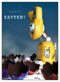 Easter clockwork easter rabbit bunny egg chocolate robot personalised online greeting card