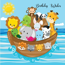Millymoo Noah's Ark CHildrens Birthday Card Birthday children BIRTHDAY CHILDREN kids personalised online greeting card