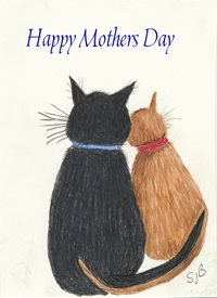 Mother Cats   ginger and black  personalised online greeting card
