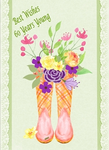 Birthday For-Her Wellies Flowers 60 Green Yellow Pink Purple Orange Happy  personalised online greeting card
