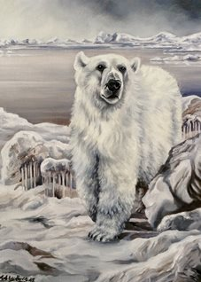 fineart Polar bears animals  wildlife snow  for-him for-her for-child white ice fineart arctic zoos nature oils general blank all occasions art him her winter personalised online greeting card
