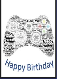 Wicked Creations game controller birthday card  Birthday gaming, controller, geeky, black,make, female  personalised online greeting card