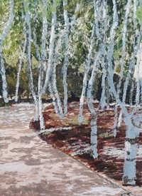 Art Silver Birches, Wood, Copse, Summer z%a personalised online greeting card