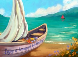 Birthday  Boat Sea Water Lake  z%a personalised online greeting card